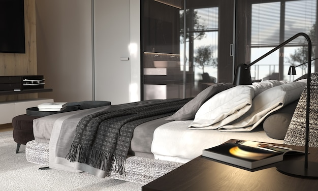 유리 파티션이있는 미니멀리즘 현대적인 인테리어 디자인 침실.