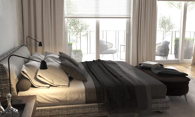 파노라마 창문이있는 미니멀리즘 현대적인 인테리어 디자인 침실.