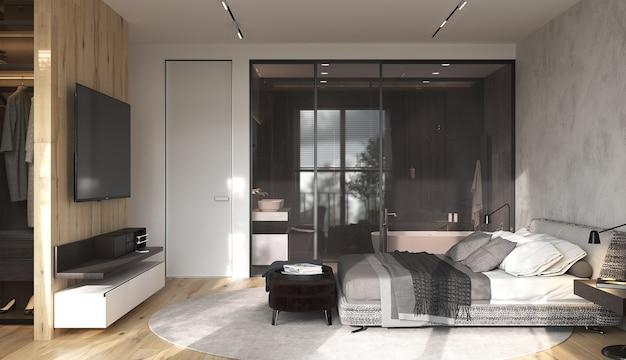 옷장과 tv 존이있는 미니멀리즘 현대적인 인테리어 디자인 침실.