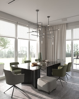 Minimalism modern interior design. studio dining room with luxury table and green chairs. 3d rendering. 3d illustration.