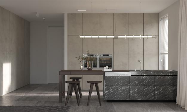 Minimalism modern interior design. studio kitchen room with kitchen island and chairs. 3d rendering. 3d illustration.