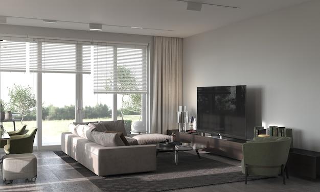 Минимализм в современном интерьере. гостиная-студия с диваном, креслом, ковром и тв-зоной. 3d рендеринг. 3d иллюстрации.