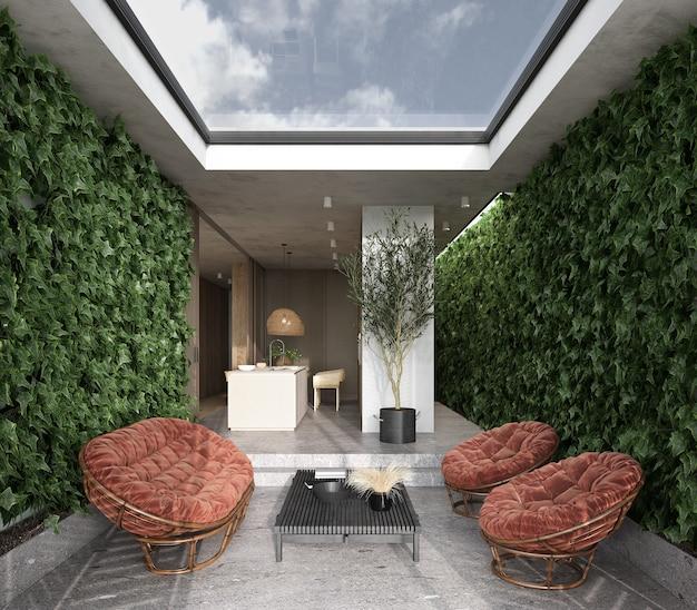 미니멀리즘 모던 인테리어 스칸디나비아. 밝은 건축 스튜디오 주방과 실내 테라스. 큰 파노라마 천장 창문, 녹색 식물, 고리 버들 가구. 3d 렌더링. 3d 그림.