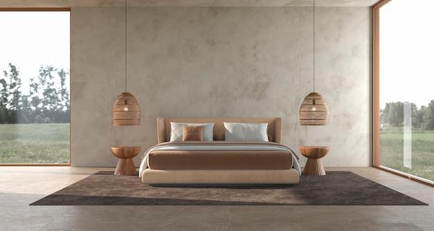 미니멀리즘 현대적인 인테리어 스칸디나비아 디자인 침실 치장 용 벽토 벽 3d 렌더링을 조롱
