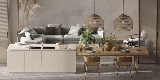 미니멀리즘 모던 인테리어 스칸디나비아 디자인. 밝은 스튜디오 거실, 주방 및 식당. 요리, 부엌 섬 및 녹색 식물이있는 테이블. 3d 렌더링. 3d 그림.