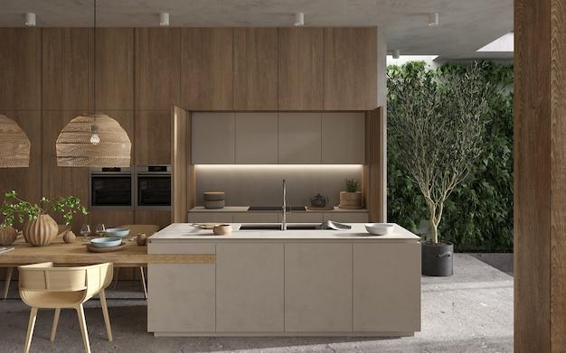 미니멀리즘 모던 인테리어 스칸디나비아 디자인. 밝은 스튜디오 거실, 주방 및 식당. 부엌 섬, 녹색 식물 및 요리 테이블이있는 나무 주방. 3d 렌더링. 3d 그림.