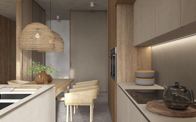 极简主义的现代室内斯堪的纳维亚设计。明亮的工作室客厅,厨房和餐厅。餐桌上的菜,厨房岛和绿色植物。3 d渲染。3 d演示。