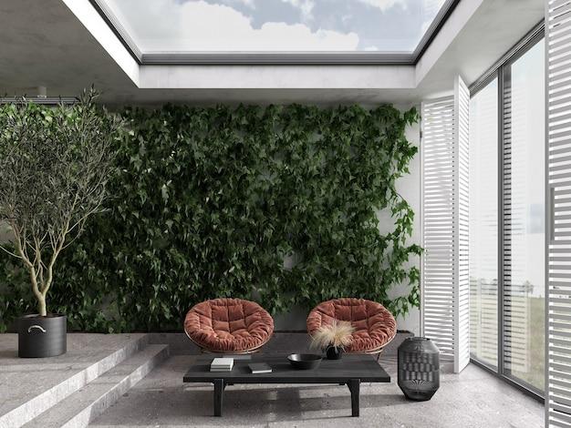 미니멀리즘 모던 인테리어 스칸디나비아 디자인. 밝은 스튜디오 거실과 실내 테라스. 대형 파노라마 창문, 녹색 벽 및 식물. 등나무 가구, 돌 바닥. 3d 렌더링. 3d 그림.