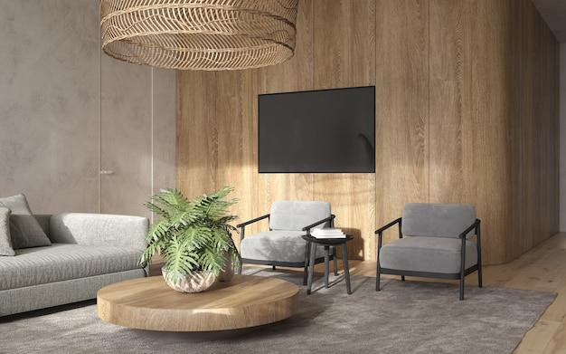 미니멀리즘 모던 인테리어 스칸디나비아 디자인. 밝은 스튜디오 거실. 아늑한 디자인의 대형 모듈 식 소파, 안락 의자, 대형 목재 램프, tv 및 녹색 식물. 3d 렌더링. 3d 그림.