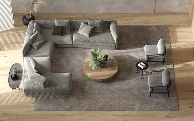 미니멀리즘 모던 인테리어 스칸디나비아 디자인. 밝은 스튜디오 거실. 아늑한 디자인의 대형 모듈 식 소파, 안락 의자, 나무 램프, tv 및 녹색 식물. 위에서 봅니다. 3d 렌더링. 3d 그림.