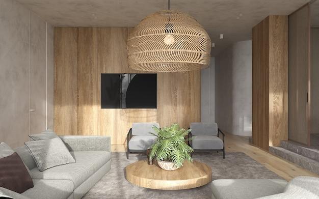 미니멀리즘 모던 인테리어 스칸디나비아 디자인. 밝은 스튜디오 거실. 아늑한 디자인의 대형 모듈 식 소파, 대형 목재 램프, tv 및 녹색 식물. 3d 렌더링. 3d 그림.