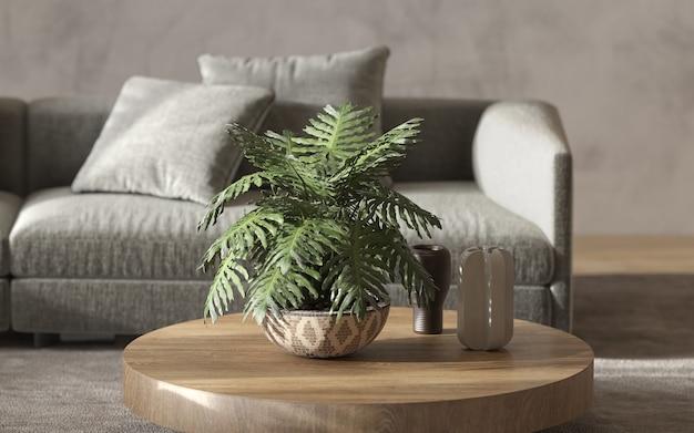 미니멀리즘 모던 인테리어 스칸디나비아 디자인. 밝은 스튜디오 거실. 아늑한 디자인의 대형 모듈 식 소파, 녹색 식물 및 장식 테이블. 장식 구성. 3d 렌더링. 3d 그림.