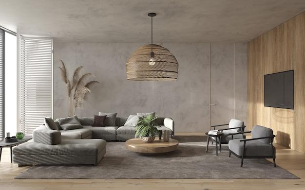 미니멀리즘 모던 인테리어 스칸디나비아 디자인. 밝은 스튜디오 거실. 아늑한 디자인의 파노라마 창문, 대형 모듈 식 소파, 대형 목재 램프, tv 및 녹색 식물. 3d 렌더링. 3d 그림.