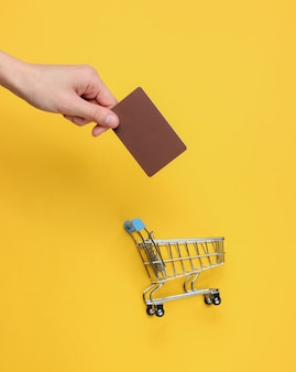 Minimalism shopping concept female hands holding bank card