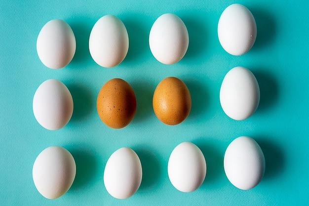 ミニマリズムのスタイル。平らな表面に生の卵を生む。