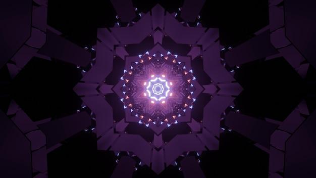 輝くネオンパープルの幾何学的図形と抽象的なsfデザインの黒い背景に点滅するライトのミニマリスト3dイラスト