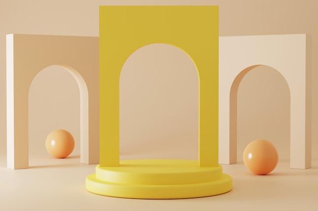 Минималистичный подиум с 3d-рендерингом в пастельных тонах.