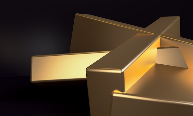 Minimalist abstract background, gold primitive geometrical figures, 3d render.