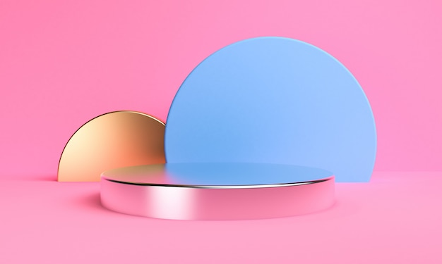 Minimalist abstract background, primitive geometrical podium figures, pastel colors, 3d render.