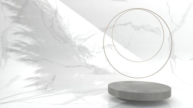 흰색 배경, 3d 렌더링, 3d 그림에서 제품 프레젠테이션을 위한 미니멀한 추상 형상 콘크리트 디스플레이 장면