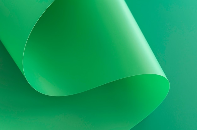Minimalist abstract green paper high view