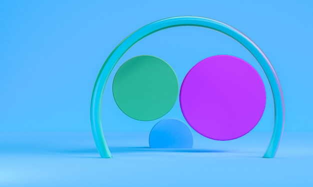 Minimalist abstract primitive geometrical figures, pastel colors, 3d render