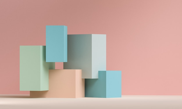 Minimalist abstract, primitive geometrical figures, pastel colors, 3d render.