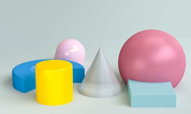 Minimalist abstract, primitive geometrical figures, pastel colors, 3d render.