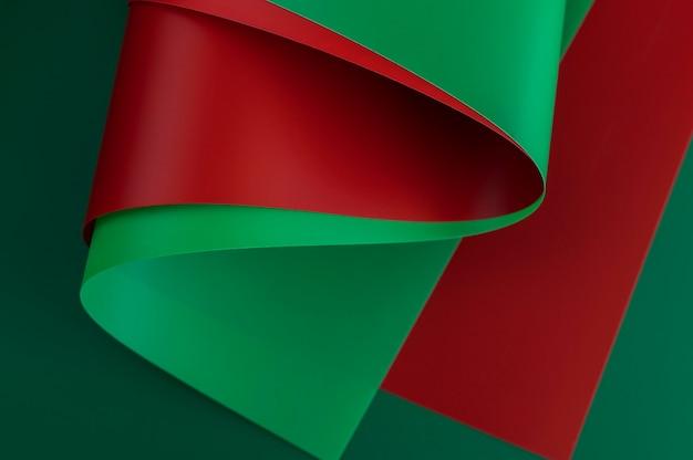 ミニマリストの抽象的な赤と緑の紙