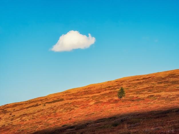 大きな雲だけで青い空の下に山のシルエットを持つミニマリストの高山の風景。秋の斜面の山と明るい空。青い空の下の山のシルエットと最小限の自然の背景。