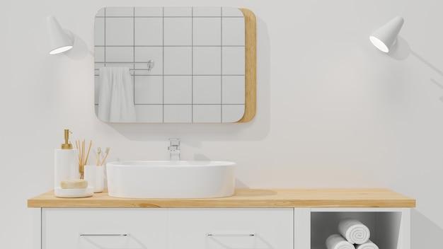 미니멀리즘과 스칸디나비아 욕실 인테리어는 나무 캐비닛의 몽타주 공간에 근접합니다.