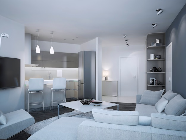 주방 바와 회색과 흰색이 혼합 된 두 가지 색상의 벽이있는 미니멀리스트 아파트 스튜디오