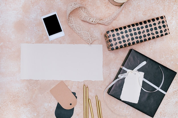 Minimalist arrangement of birthday items