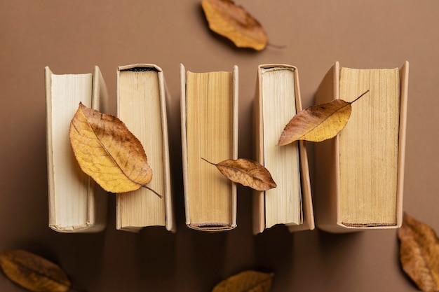 さまざまな本のミニマリストの配置