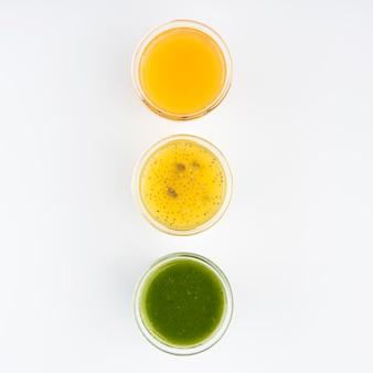 Minimalist assortment of fresh smoothies