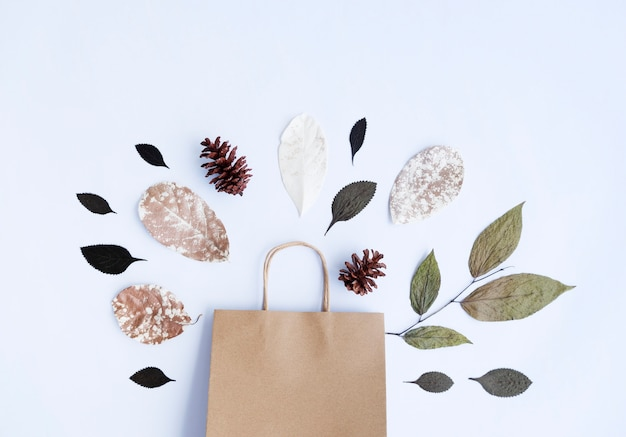 ミニマリストの秋のコンセプト。乾燥した葉、松の花、白い紙の背景に分離された紙袋