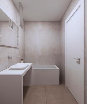 Minimalist bathroom design with white furniture and wide mirror