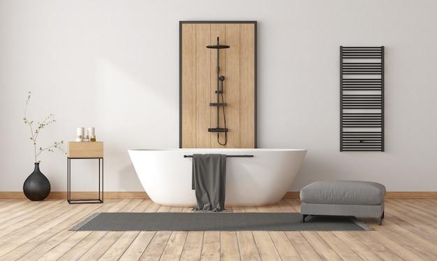 Минималистичная ванная комната с ванной и душем, декоративной деревянной панелью и черным радиатором.