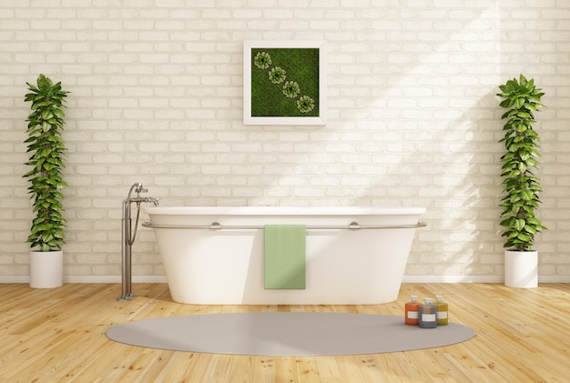 Минималистская ванная комната с ванной на фоне белой кирпичной стены
