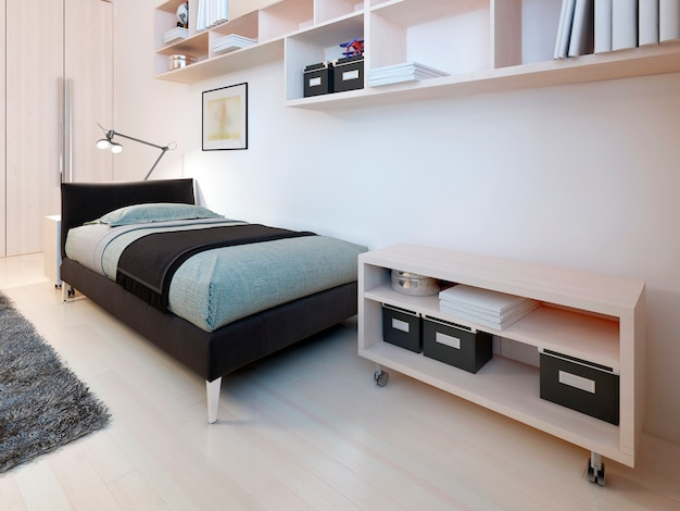 Minimalist bedroom design with bed shelves and a bookcase.