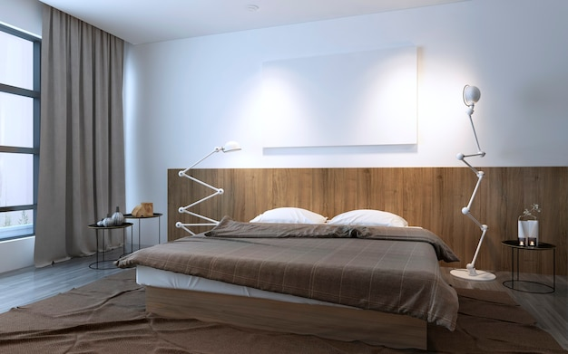 벽 목재 장식 패널, 곡선 램프가있는 갈색 색상의 미니멀리스트 침실. 3d 렌더링