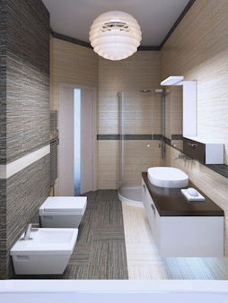 Minimalist bedroom with double colored tile. 3d render