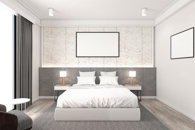壁のパターンと額縁、テーブルランプとサイドテーブルを備えたミニマリストのベッドルーム。3dレンダリング