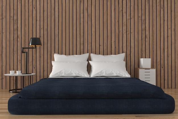 Minimalist bedroom with wood loft design in 3d rendering