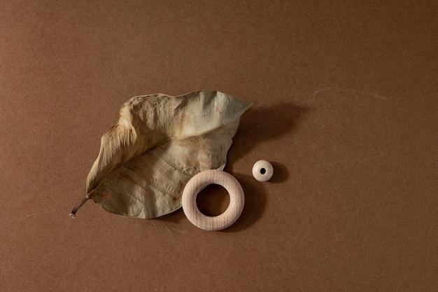 天然素材を使用したミニマリストベージュブラウンの生命構成-乾燥した葉とハードシャドウ、抽象的な現代アートデザインコンセプト上面図と木製の円