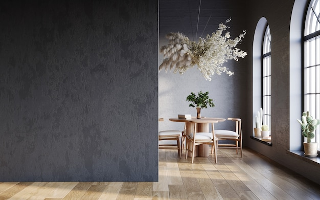 Minimalist black interior with round table and hanging pampas cloud interior mockup 3d render