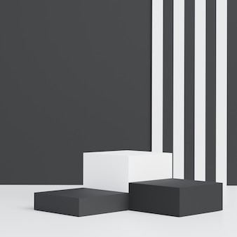 Minimalist black theme background. 3d abstract minimal geometric forms. glossy luxury podium for your design.