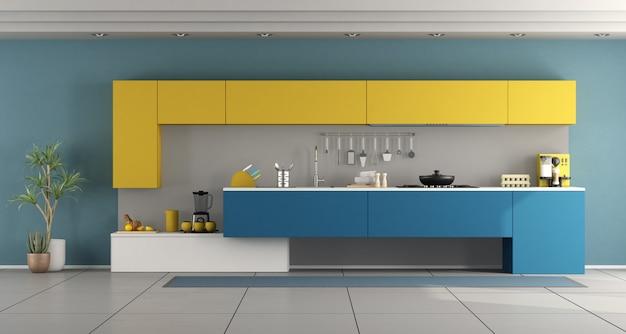 ミニマリストの青と黄色のキッチン