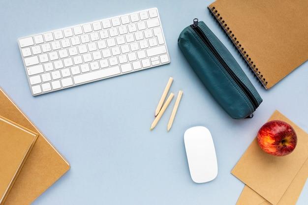 Minimalist business arrangement on blue background