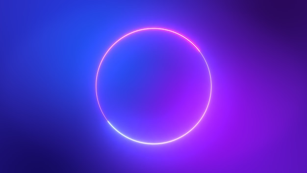 Minimalist colorful blue pink and purple neon circles abstract background.